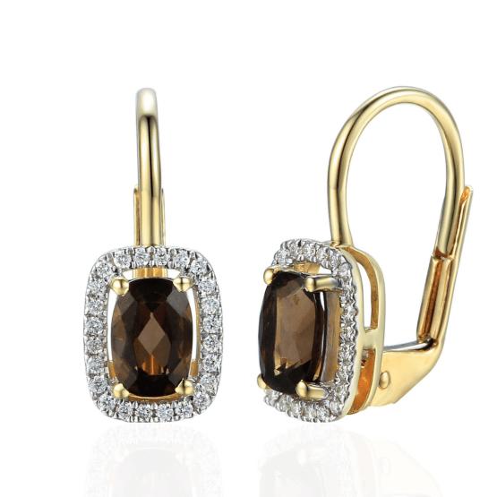 Elegantní náušnice Solange, žluté zlato s brilianty a záhnědou (smoky quartz)