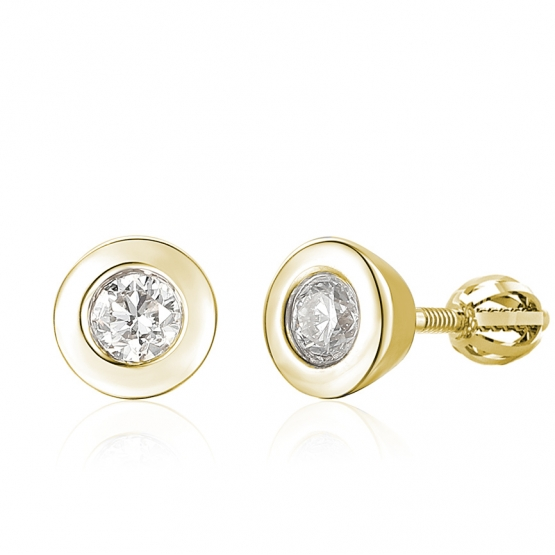 Diamantové náušnice Praia, žluté zlato s brilianty
