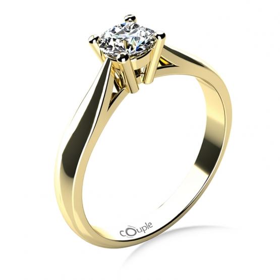 Couple, Elegantní zásnubní prsten Rose, žluté zlato a výrazný briliant