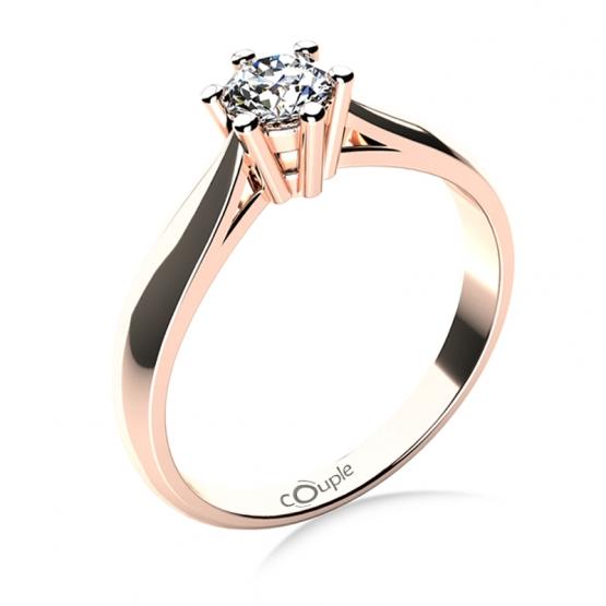 Zásnubní prsten Aimee, růžové zlato a velký zirkon