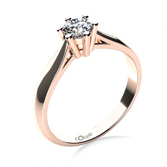 Zásnubní prsten Aimee, růžové zlato a velký briliant