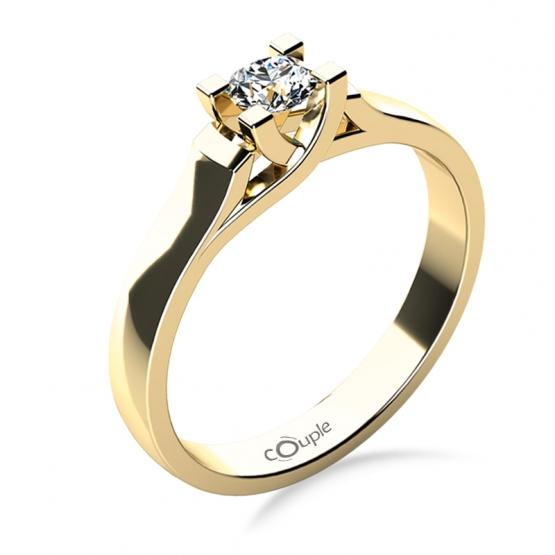 Zásnubní prsten Brigitte ve žlutém zlatě se zirkonem