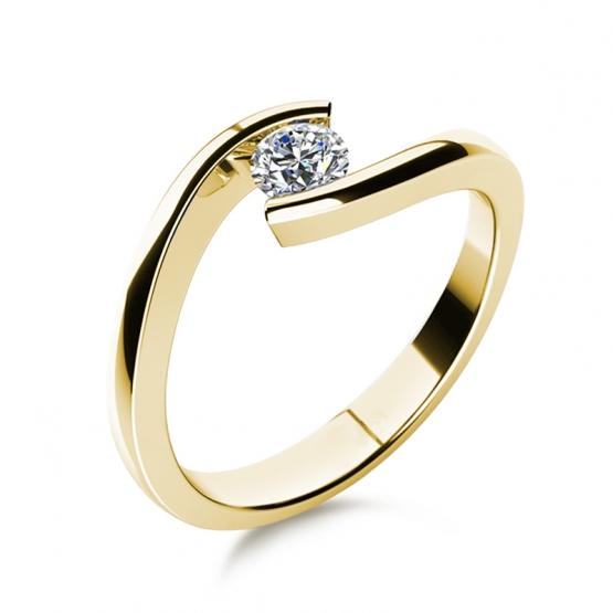 Minimalistický zásnubní prsten Freya, žluté zlato a zirkon