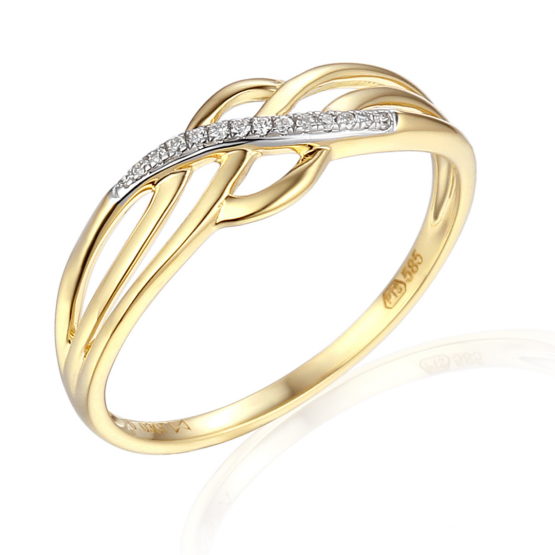 Vkusný prsten Gianna, kombinované zlato s brilianty