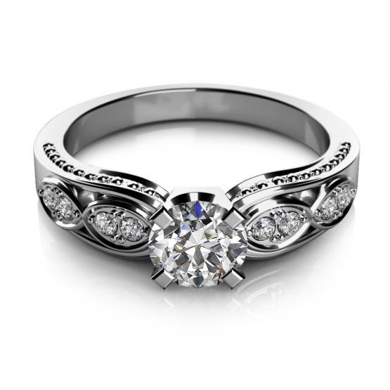 Noblesní zásnubní prsten Mabel v bílém zlatě