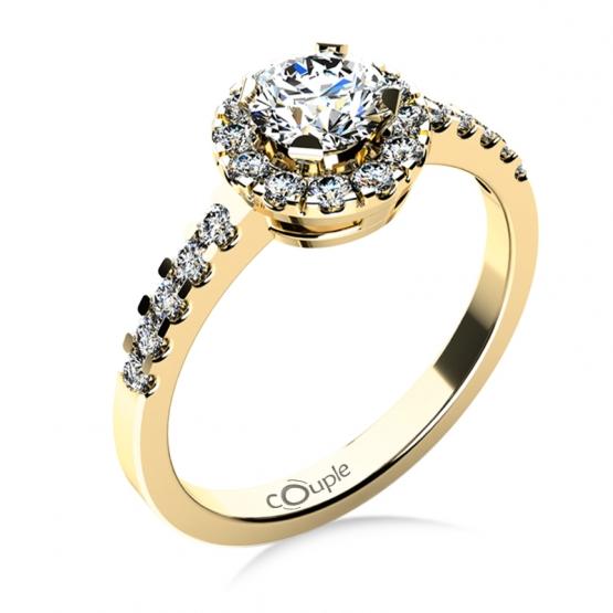 Couple, Výrazný zásnubní prsten Bella ve žlutém zlatě se zirkony
