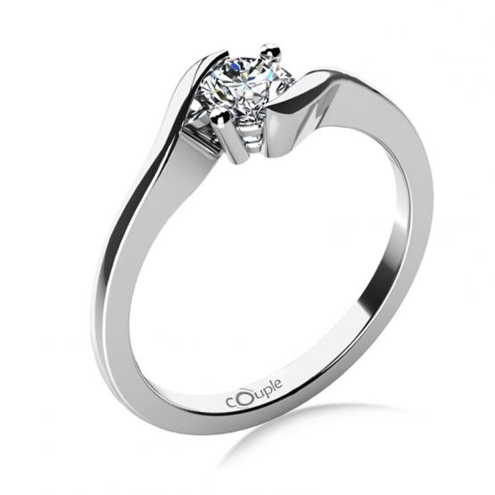Zásnubní prsten Tanya, bílé zlato s výrazným zirkonem