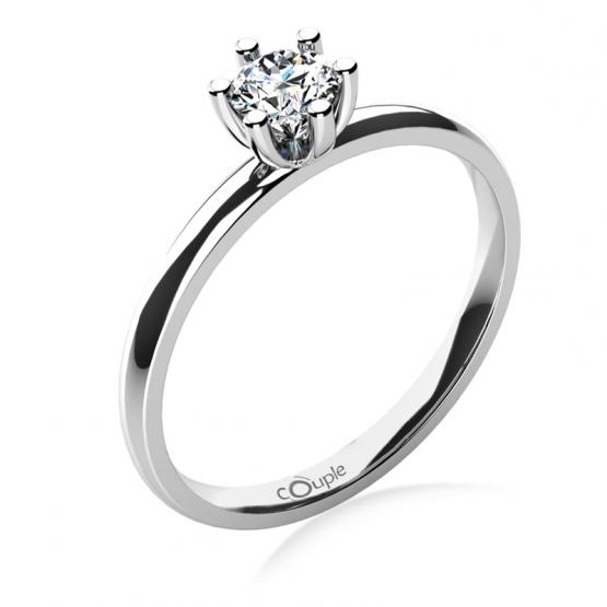 Zásnubní prsten Zoel, bílé zlato a velký zirkon