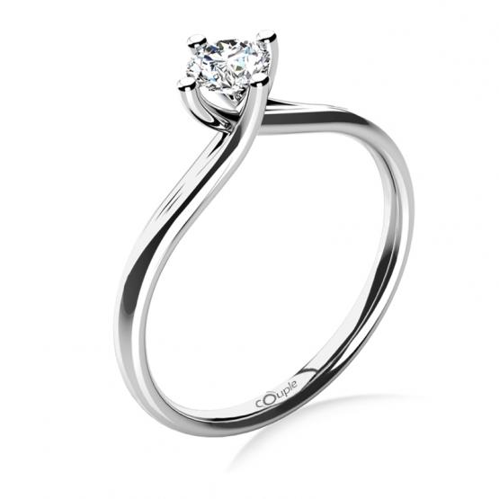Celia – zásnubní prsten z bílého zlata s velkým zirkonem