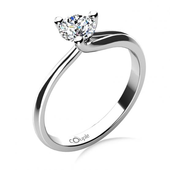 Couple, Okouzlující zásnubní prsten Mai, bílé zlato a velký zirkon