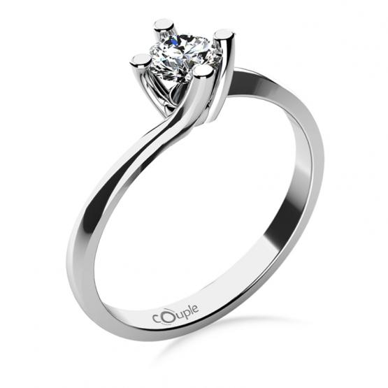 Zásnubní prsten Sivan, bílé zlato s velkým zirkonem