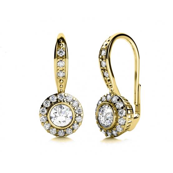 Couple, Luxusní náušnice Samantha II, žluté zlato a zirkony