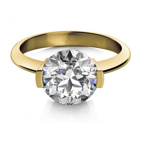 Zásnubní prsten Claire, žluté zlato a zirkon