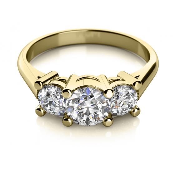 Zásnubní prsten Unique, žluté zlato se zirkony