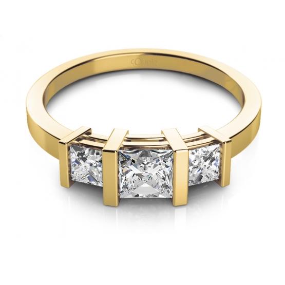 Lea – zajímavý prsten ve žlutém zlatě se zirkony