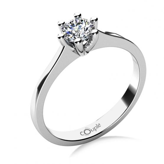 Couple, Oblíbený zásnubní prsten Layla, bílé zlato a velký zirkon