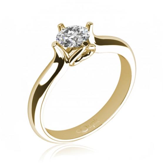 Couple, Ikaria – Zásnubní prsten ze žlutého zlata se zirkonem