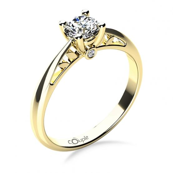 Zásnubní prsten Jodie, žluté zlato a zirkony