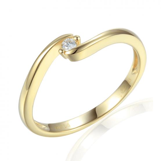 Minimalistický prsten Brennon, žluté zlato briliantem