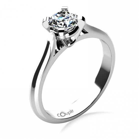 Couple, Zásnubní prsten Grace, bílé zlato s briliantem