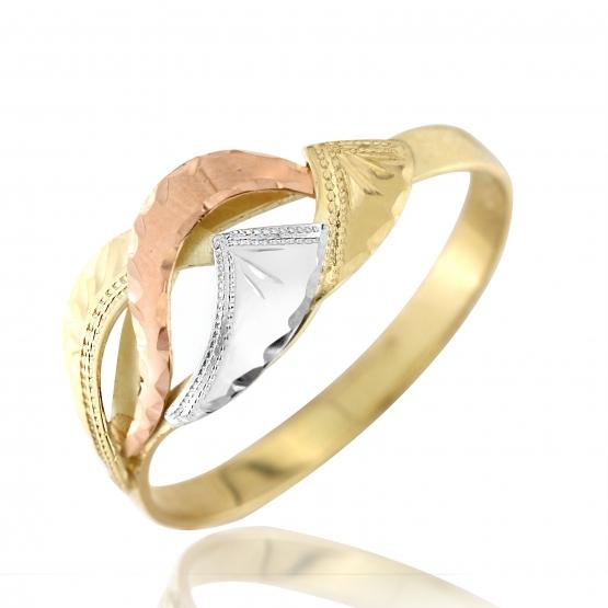 Zajímavý prsten Maria, kombinované zlato