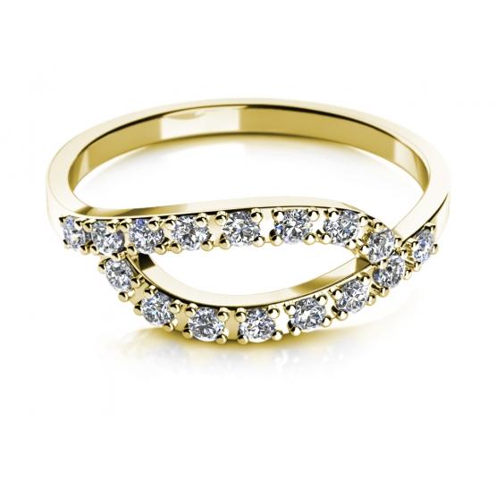 Elegantní prsten Emma I, žluté zlato se zirkony