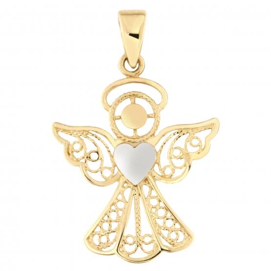 Přívěsek Andělíček – žluté a bílé zlato