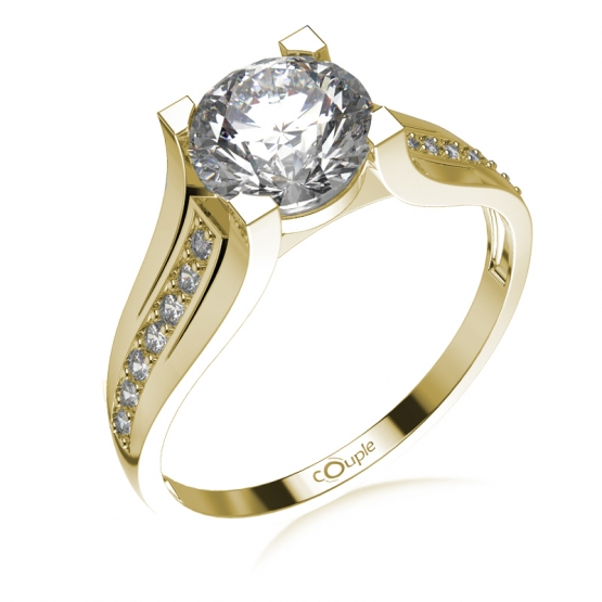 Couple, Luxusní zásnubní prsten Merci, žluté zlato a zirkony