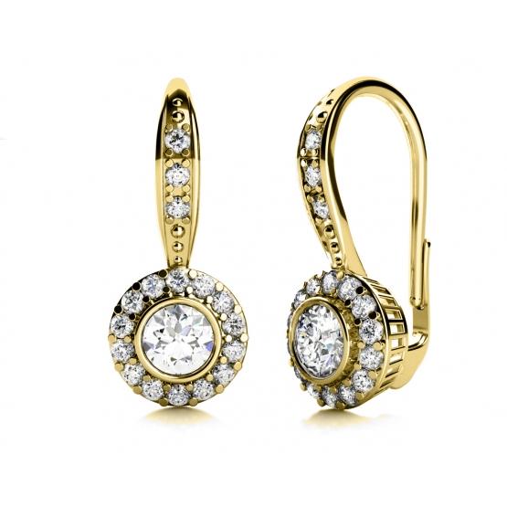 Couple, Luxusní náušnice Samantha, žluté zlato a zirkony