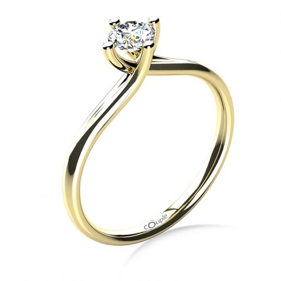 Couple, Celia – zásnubní prsten ze žlutého zlata s velkým zirkonem