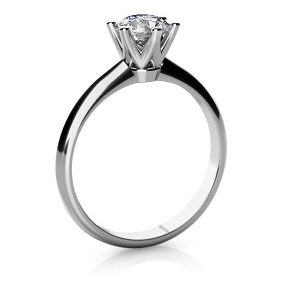 Zásnubní prsten May, bílé zlato se zirkonem