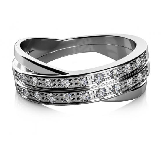 Zajímavý prsten Manon, bílé zlato se zirkony