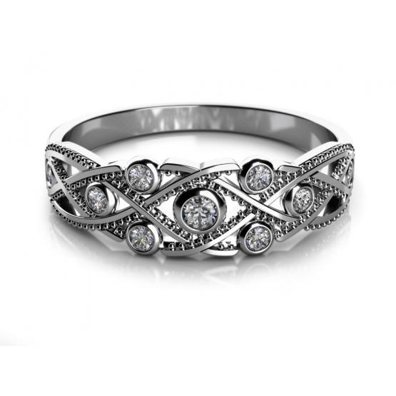 Netradiční prsten Richelieu v bílém zlatě se zirkony