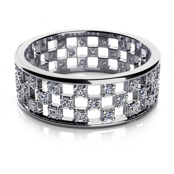 Couple, Originální prsten Chess, bílé zlato se zirkony