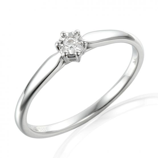 Decentní prsten Dara, bílé zlato brilianty