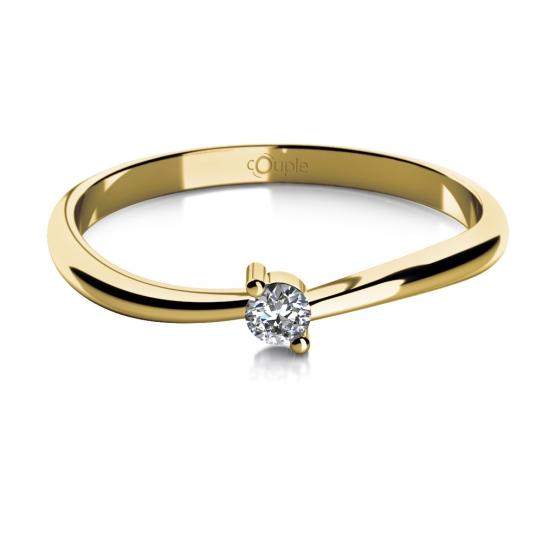 Zásnubní prsten Lora, žluté zlato se zirkonem
