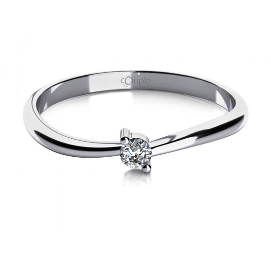 Zásnubní prsten Lora, bílé zlato se zirkonem