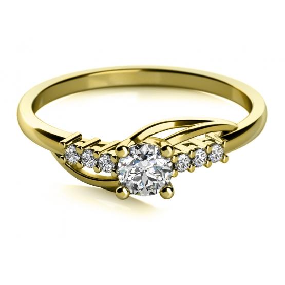ANDROS – zásnubní prsten ze žlutého zlata se zirkony