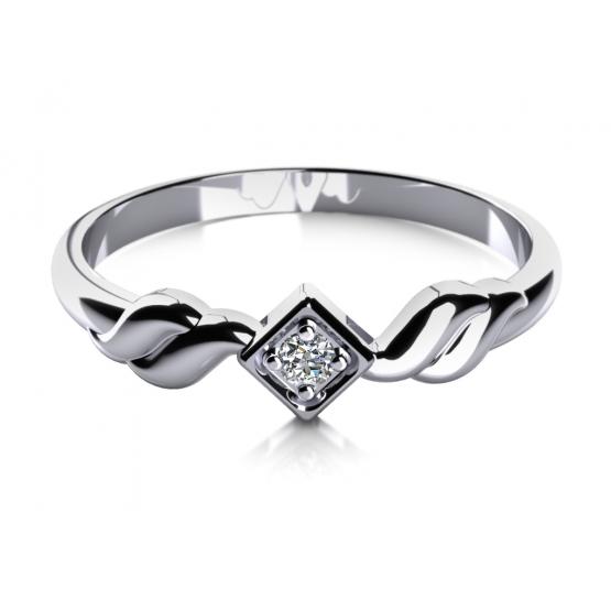 Zásnubní prsten Louise v bílém zlatě se zirkonem