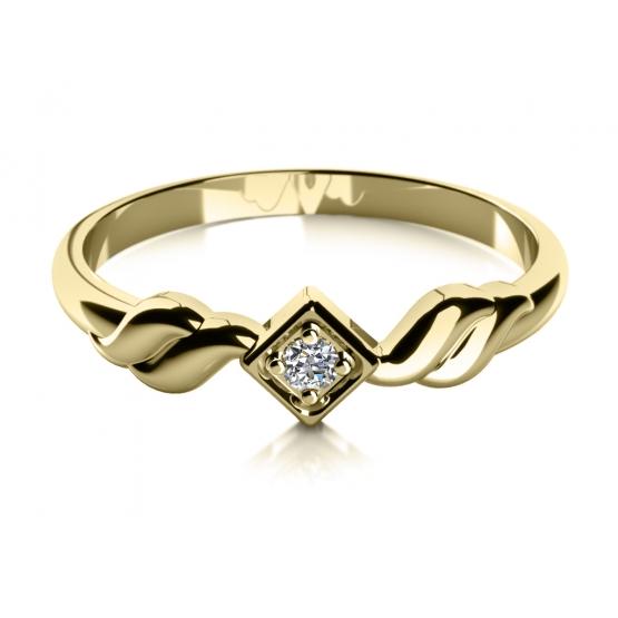 Zásnubní prsten Lorry ve žlutém zlatě se zirkonem