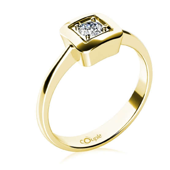 Delia – prsten ve žlutém zlatě se zirkonem