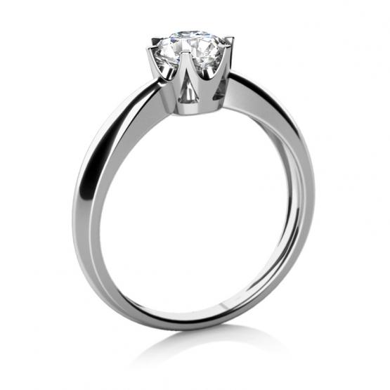 Zásnubní prsten Crown v bílém zlatě