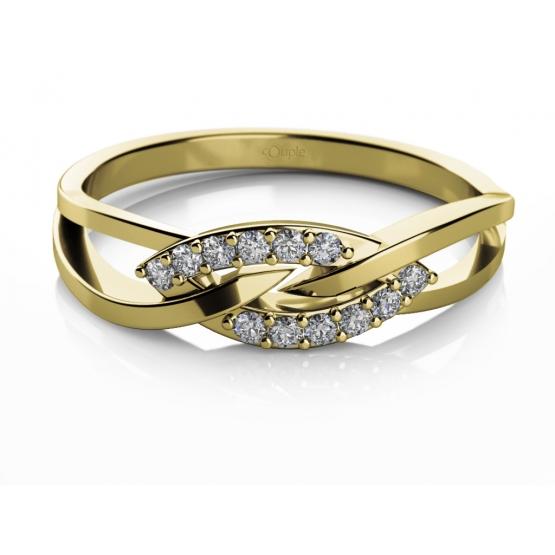 Elegantní prsten Emma, žluté zlato se zirkony