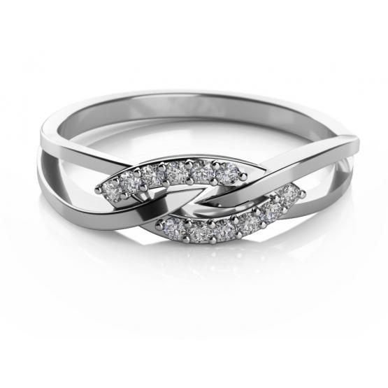 Elegantní prsten Emma, bílé zlato se zirkony