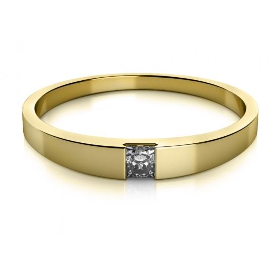Minimalistický prsten Viki ve žlutém zlatě se zirkonem