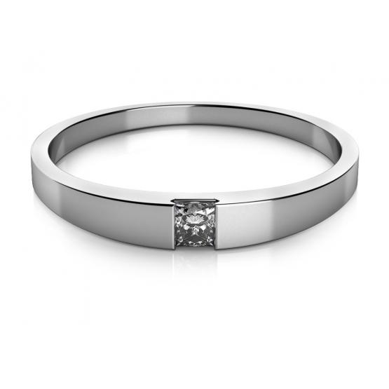 Couple, Minimalistický prsten Viki v bílém zlatě se zirkonem