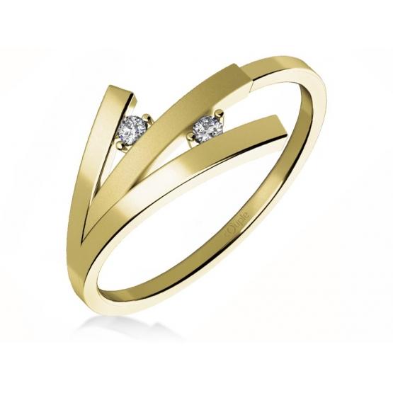 Couple, Zajímavý prsten Kayla ze žlutého zlata se zirkony
