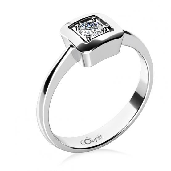 Couple, Delia – prsten v bílém zlatě se zirkonem