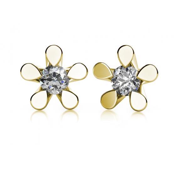 Couple, Náušnice Flower II, žluté zlato se zirkony