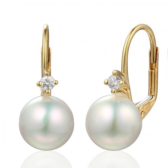 Visací náušnice Morgan, žluté zlato a velká bílá perla